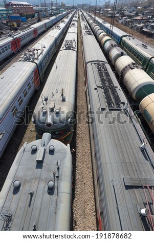 Cargo Station in Krasnoyarsk with trains, the top view