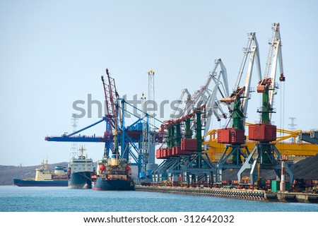 cargo terminal at russian port Vladivostok  - stock photo