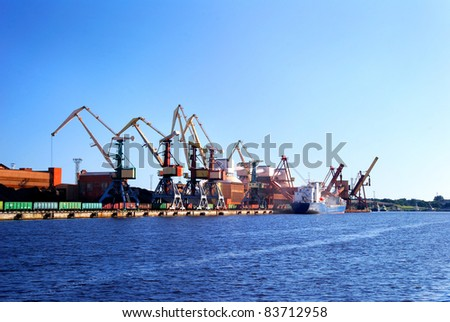 Cargo terminal of Ventspils, Latvia. Wide view - stock photo