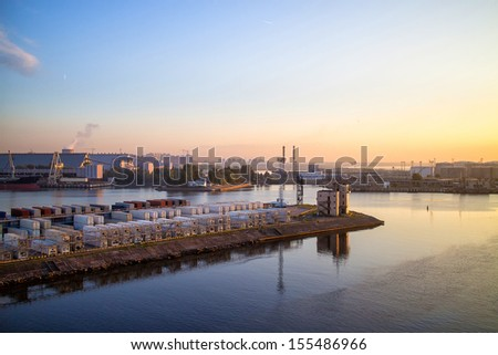 Cargo Terminal seaport - stock photo
