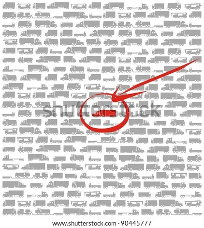 Cargo tracking / Finding your cargo among many cargo carrying vehicles, dump trucks and cranes / color raster cartoon illustration set - stock photo