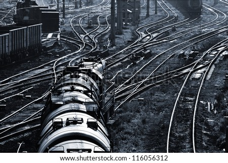 cargo train and industrial railroad view - stock photo
