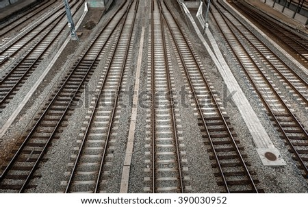 Cargo trains in old train depot - stock photo