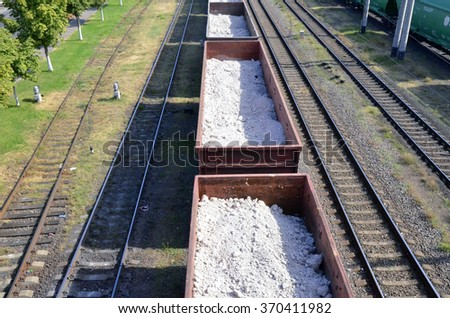 Cargo trains with chalk - stock photo