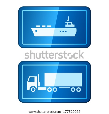 Cargo transportation icons. Raster version - stock photo