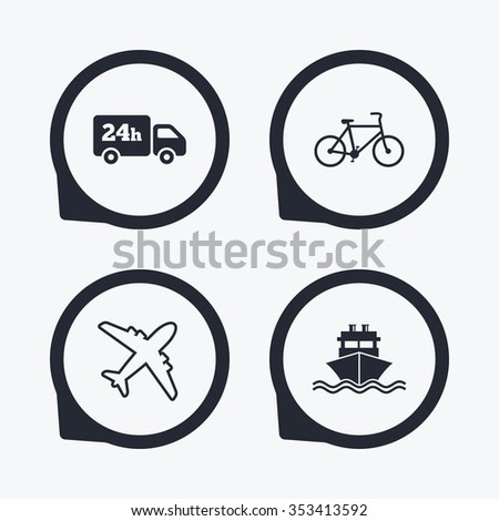 Cargo truck and shipping icons. Shipping and eco bicycle delivery signs. Transport symbols. 24h service. Flat icon pointers. - stock photo