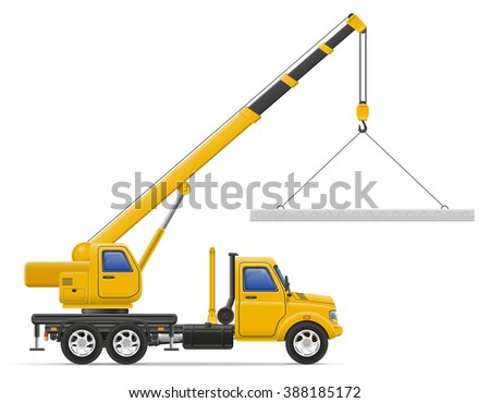 cargo truck delivery and transportation of construction materials concept illustration isolated on white background - stock photo