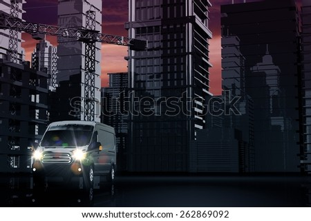 Cargo Van Delivery Concept 3D Illustration. Cargo, Logistic and Shipping in the City. - stock photo