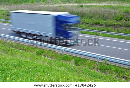 Cargo vehicle quick fast moving - stock photo