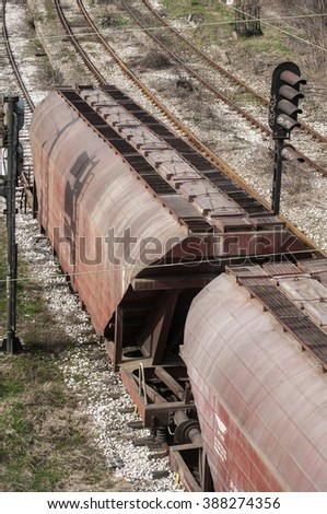Cargo wagons train composition on railroad lines