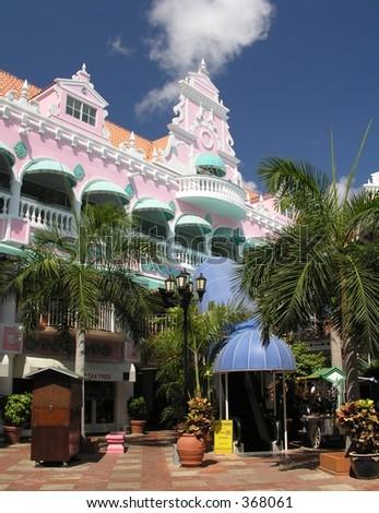 Caribbean architecture in Oranjestad / Aruba - stock photo