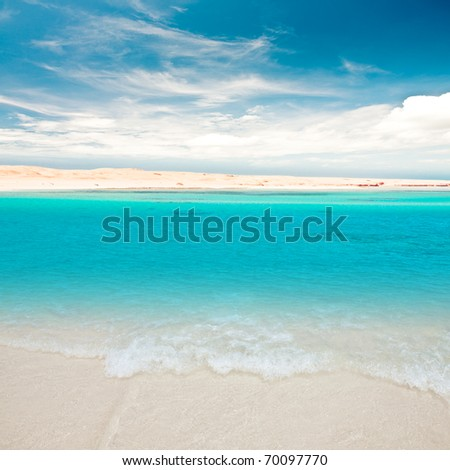Caribbean beach and summer sky - stock photo