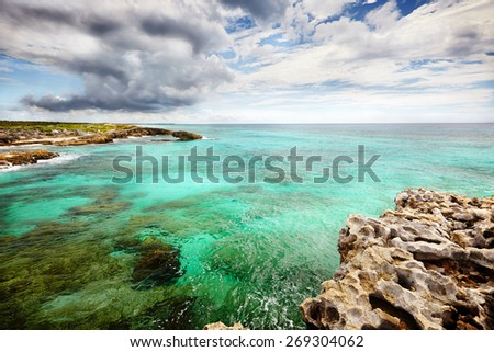Caribbean beach and tropical sea in Mexico - stock photo