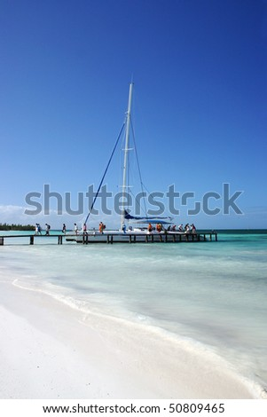Caribbean Beach Front Ocean View At Varadero, Cuba - stock photo