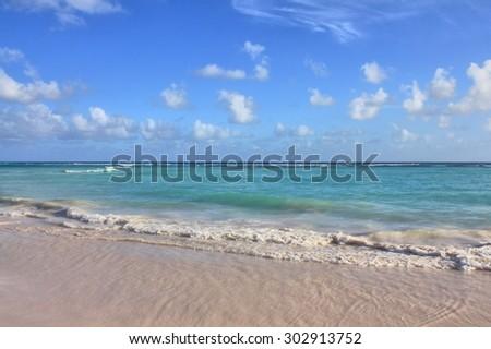 Caribbean beach on Barbados island - stock photo