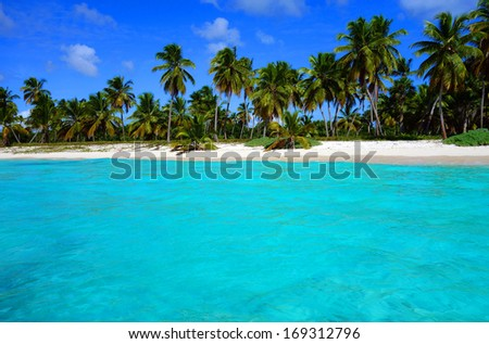 Caribbean beaches and colorful houses - stock photo