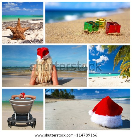 Caribbean christmas collage - stock photo