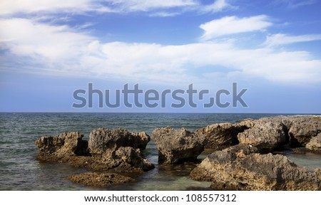 Caribbean Coastal Landscape with volcanic rocks, Jamaica Montego Bay - stock photo
