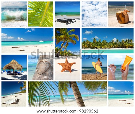 Caribbean collage with tropical landscapes - stock photo