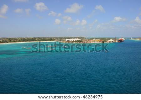 Caribbean Fishing Boats in Nassau Harbor on Bahamas - stock photo