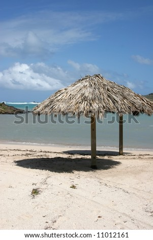 caribbean lagoon in St Barth, grand cul-de-sac - stock photo