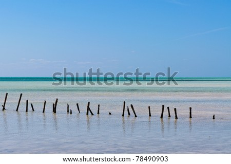 Caribbean lonely beach - stock photo