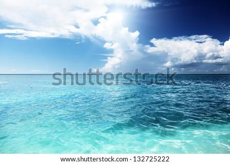 Caribbean sea and sunny day - stock photo