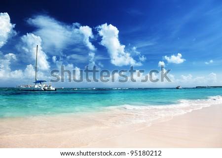 Caribbean sea and yacht - stock photo