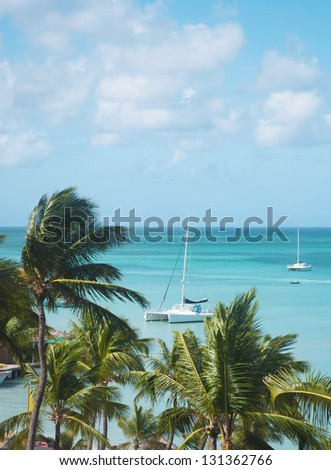 Caribbean sea, Aruba - stock photo