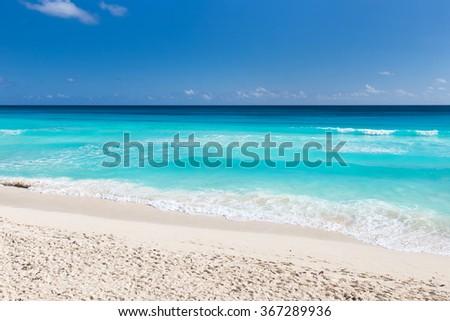 Caribbean sea coastline. Beautiful tropical beach view  - stock photo