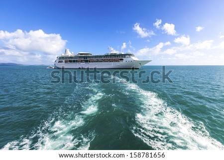 CARIBBEAN SEA - MAY 4: Passengers on Royal Caribbean begin cruise on May 4 , 2010. The cruise liner  is one of the best and  highly successful Conquest class.  - stock photo