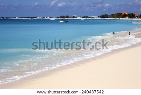 Caribbean Sea. Seven Miles beach in Grand Cayman - stock photo