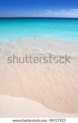 Caribbean sea turquoise white sand beach - stock photo
