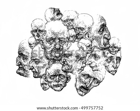 Caricature faces, Many heads, Crowd, Society,  Abstract Art, Portrait Society City  people sketch background people