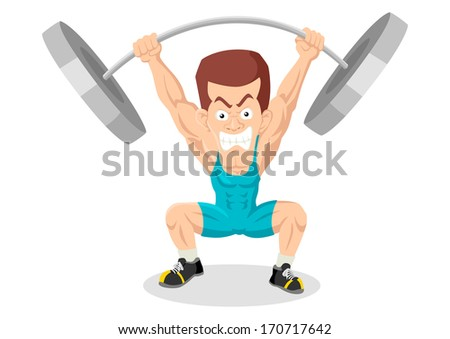 Caricature illustration of a weightlifter - stock photo