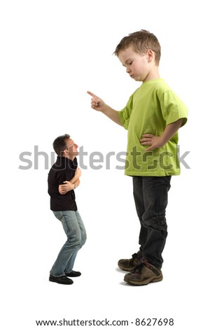 Caricature of a large son pointing his finger at the extra small dad. Not always do the parents tell what must be done! - stock photo