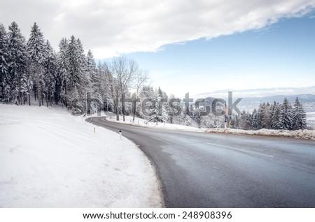 Carinthia Winter Mountain Road - stock photo