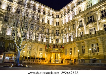 "CARLSBAD,  Grandhotel Pupp in night , Czech Republic.Films ""Last Holiday"" and box-office hit ""Casino Royale"", both of which used Grandhotel Pupp. 20.03.2015"