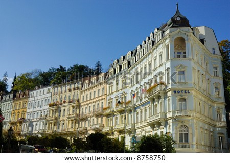 Carlsbad (Karlovy Vary) is the biggest spa town in the Czech Republic and was founded in 1358 by Charles IV, Czech king and Emperor of the Holy Roman Empire. - stock photo