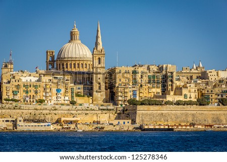 Carmelite Church and St. Paul's Anglican Cathredal, Marsamxett Harbour, Valletta