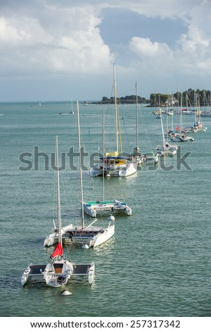 Carnac, France - August 11: View of small boats on the coast of Brittany near Carnac, France on August 11, 2014. - stock photo