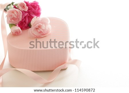 carnation and pink gift box for mother's day image - stock photo