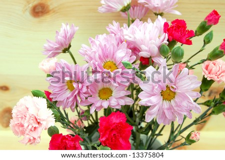 carnation and pompon flower bouquet