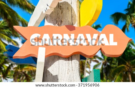 Carnaval sign with tropical background - stock photo
