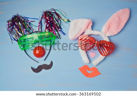 Carnival  background with funny party costumes. View from above - stock photo