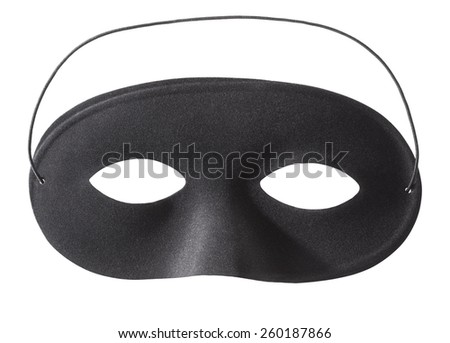 Carnival black mask isolated on white, clipping path included - stock photo