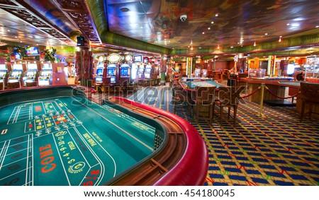 Carnival Conquest Cruise Ship Casino Interrior Stock Photo
