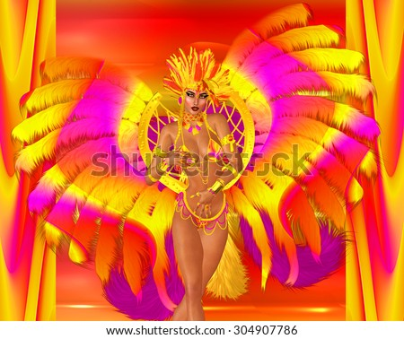 Carnival dancer woman in colorful feathers and headdress dances in front of a colorful abstract background that matches her outfit. Perfect for party scenes, celebration, beauty and fashion themes. - stock photo