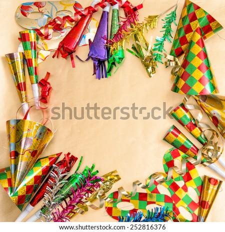 Carnival decorations. Holidays background. Symbol of venetian mask festival - stock photo