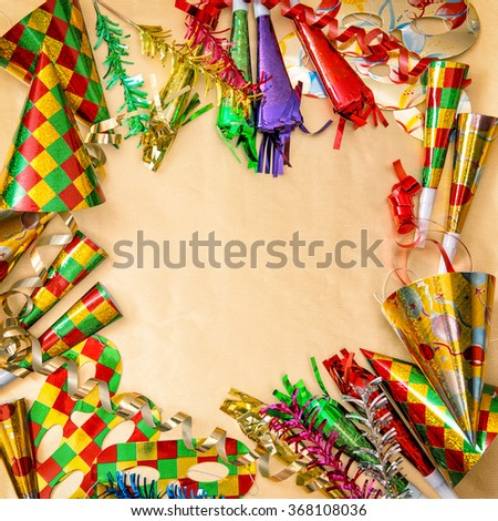 Carnival decorations. Holidays background. Venetian mask festival. - stock photo
